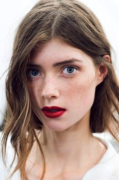 Le Fashion Blog -- Holiday Party Beauty Inspiration Romantic Waves Red Lips Freckles Burberry SS 2015 Via Gary Pepper -- photo Le-Fashion-Blog-Holiday-Party-Beauty-Inspiration-Romantic-Waves-Red-Lips-Freckles-Burberry-SS-2015-Via-Gary-Pepper.jpg