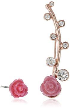Amazon.com: Betsey Johnson Pink Rose Stud and Ear Cuffs: Jewelry