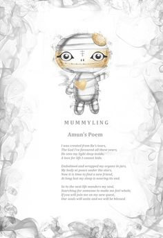 Frightlings Amun Mummyling character poem. Free with every Amun Mummyling charm puchased from www.kalilablue.co.uk