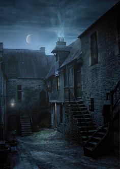 "darkface: "" Rue de l'enfer by ~Eacone01 "" Saint Saturnin, Midnight Sky, Supper Recipes, Medieval Castle, Evening Meals, Rue, Loose Ends, Cover Photos, Shadows"