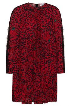 Red Valentino Damen Plisseekleid mit Leoprint Rot/Schwarz | SAILERstyle Valentino Garavani, Trends, Red Color, Red Black, Valentino Red, Clothing, Beauty Trends