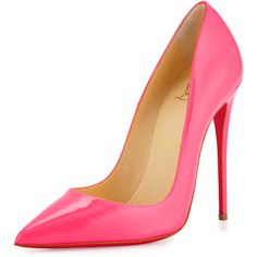 Christian Louboutin So Kate Patent 120mm Red Sole Pump ($720) ❤ liked on Polyvore featuring shoes, pumps, heels, shocking pink, pink patent leather pumps, high heel shoes, christian louboutin pumps, heels stilettos and pink pumps