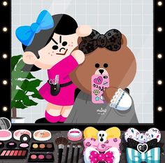 Choco in Salon Bear Gif, Cony Brown, Bear Images, Brown Line, Iphone 6 Wallpaper, Line Friends, Tole Painting, Cute Illustration, Nail Artist