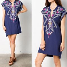 "⚓️JUST IN!⚓️Embroidered Denim Shift Dress! ⚓️Just In!⚓️Embroidered Denim Shift Dress! This dress is everything you need to look stylish + on-trend this ☀️summer☀️while being perfectly comfortable at the same time! Anything denim is IN this season + the embroidery in shades of pink, yellow, + cream add a perfect pop of color!Dress it up w/ statement jewelry + some wedges or down w/ flats + a beach bag! From the line of April Spirit, described as ""very Brandy Melville"" in it's affordability…"