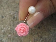 Pearl Pink Rose Belly Button Ring Jewelry Stud Navel Piercing Bar Barbell Flower Bud Rosebud by lupita m