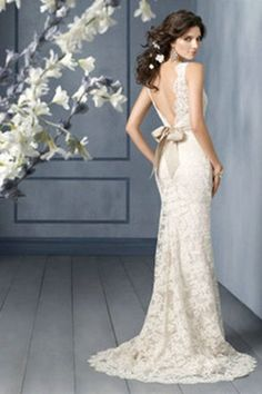 Lace Wedding Dresses Affordable $259.99 Backless Sash with bow Chapel Train