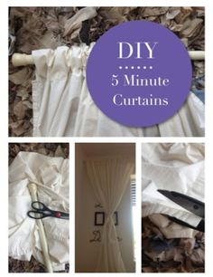 5 Minute DIY Curtains - Super Easy & Cute. Made out of old Sheet's! Recycle old fabric's to change up a room!!