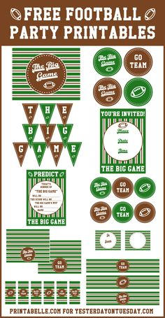 Planning for The Big Game Get set for football season with this set of free Football Party Printables! Football Banner, Free Football, Football Themes, Football Birthday, Kids Football Parties, Football Decor, Football Stuff, Mickey Birthday, 10th Birthday