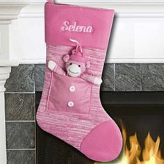 Pink Sock Monkey #Christmas Stocking #thingsengraved #thingsengravedgifts