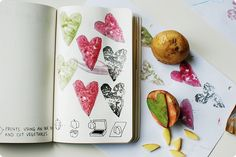 Make prints using an ink pad and cut vegetables.  Keri Smith: Wreck This Journal  I didn't have any interesting veggies so I made a potato stamp and used it. My son decided to add a little swish with his brush. He loves drawing and painting. When we