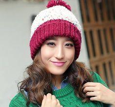 Beautiful women knit beanie hat for winter wear