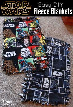 Easy DIY Star Wars Fleece Blankets via momendeavors.com. #StarWars