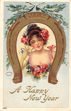 Happy New Years Good Luck Horse Shoe Pretty Woman Antique Postcard K18322 | eBay