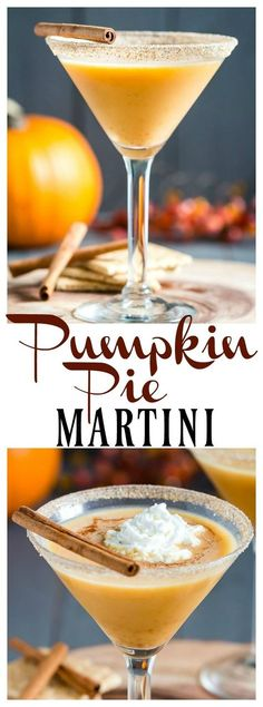 Pumpkin Pie Martini [with Recipe Video] - The perfect cocktail for your Thanksgiving celebration! Thanksgiving Drinks, Fall Drinks, Cocktail Drinks, Alcoholic Drinks, Thanksgiving Celebration, Winter Cocktails, Mixed Drinks, Martini Recipes, Cocktail Recipes