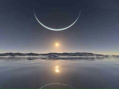 Sunset at the North Pole w/the sun below the moon!   Amazing!!