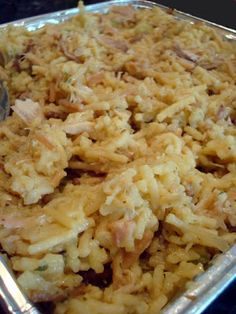 Hot Chicken Salad (a.k.a. Chicken& Rice) 3 cups cooked chicken,shredded or cubed 1 family size box of chicken flavored rice/vermicelli (like Rice-a-Roni) 1/2C chop celery 1med onion,fine chop 3/4C mayonnaise 1 can cream of chicken soup 1/2C slivered or blanched almonds,brown in small amount of butter or oil 1/2 cup crushed corn flakes Prepare rice/vermicelli per instructions. Add chicken,celery,onion,mayo,soup.Mix well.Spread in casserole dish- top w corn flakes,then almonds. Bake 325…