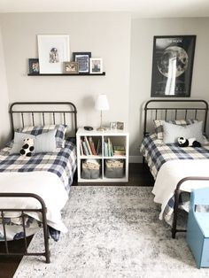 Metal farmhouse beds in a shared boys bedroom. Cubby shelf with fabric storage bins. Switching Things Up in the Boys' Bedroom – Valley + Birch schlafzimmer bett größe Boys Bedroom Decor, Trendy Bedroom, Modern Bedroom, Boys Bedroom Storage, Bedroom Themes, Contemporary Bedroom, Bedroom Designs, Bedroom Furniture, Ikea Duvet Cover
