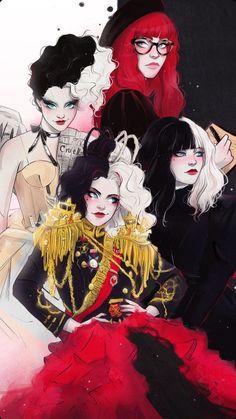 Disney Princess Art, Disney Fan Art, Comic Art, Lilo Et Stitch, Motif Art Deco, Harley Quinn Comic, Cruella Deville, Digital Art Girl, Cartoon Art Styles