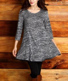 Another great find on #zulily! Charcoal Melange Scoop Neck Swing Tunic by Reborn Collection #zulilyfinds