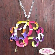 Monogram Custom Cut Vine Font Necklace with Francesca Joy Pattern