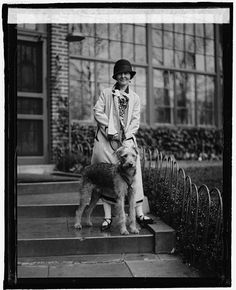 Miss Loretta O'Connell with airedale c. 1925