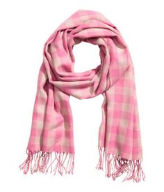 Woven Scarf | Pink/white checked | WOMEN | H&M US