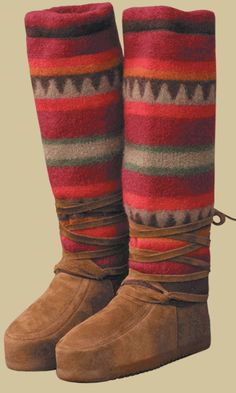 Steger Mukluks- I met a woman who wears these when she goes dog sledding! felted wool tops and moose hide boots with rubber sole. Warm Winter Boots, Winter Gear, Outdoor Wear, Textiles, Bearpaw Boots, American Made, Me Too Shoes, The Help, Fashion Shoes