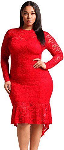 e3cc572d15988 DearQueen New Arrival Autumn Womens Fashion Red Black Plus Size Floral Lace  HiLo Mermaid Dress DQ61865RXXL