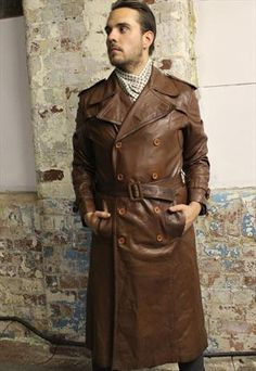 Awesome men's brown leather trench coat from Still Young Vintage.