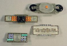 Four Theodor Fahrner Matte Rock Crystal Brooches 1920
