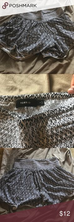 Torrid Abstract Print Dressy Shorts Cute and flowy black and white Dressy shorts. Worn once torrid Shorts