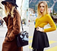 Best Clothing Colors for Blondes: Brown And Mustard