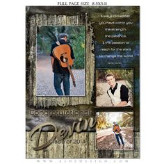 SENIOR Yearbook Ad Sets for Photographers - DEVIN PATRICK - (3) Photoshop Templates - Full page, Half page & Quarter Page Designs