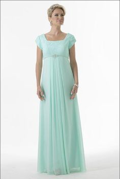 83fdb9676243b Cecelle 2016 Mint Modest Chiffon Lace Maternity Bridesmaid Dresses Cap  Sleeves Long Empire Beaded Belt Wedding Guests Dresses-in Bridesmaid Dresses  from ...