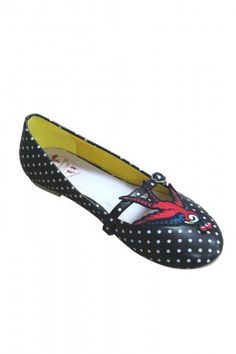 Banned Black Polka Dot & Swallow Classic Mercy Pump Shoes