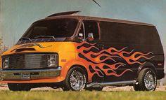 Customized 70's Dodge van