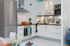 Luxurious White Apartment Design for Interior: Sleek Modern Small Kitchen Design White Apartment Interior