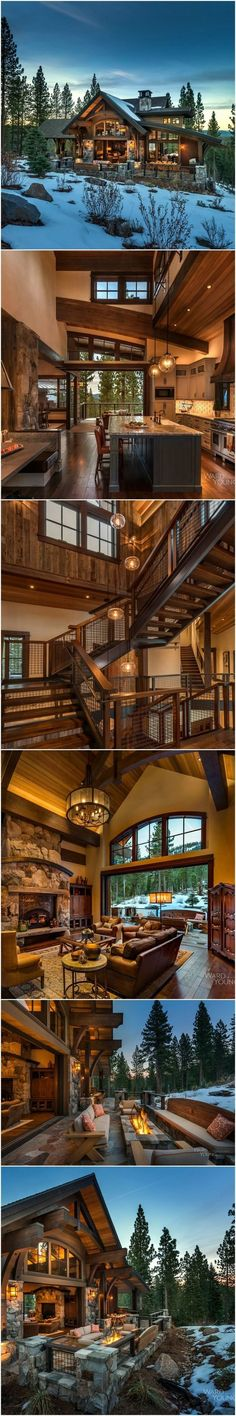 5,500 SF Mountain Transitional Lodge on a steep site with limited building area designed to capture views in two directions. Completed Fall 2015. Home Plate Lodge, Martis Camp, Lake Tahoe, CA * You can get additional details at the image link. #beautifulhomedecor
