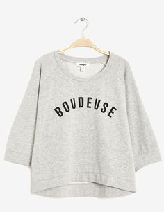 sweat imprimé boudeuse gris chiné