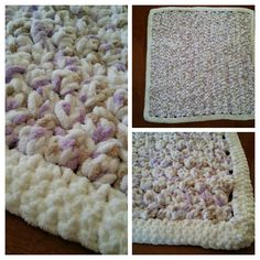 "I made this blanket for one of my co-workers newborn daughter. It is the Puffy Baby Afghan from The Crochet Crowd. I used the Bernat Baby Blanket yarn and a size N (10 mm) crochet hook. For the border, I used the same yarn, but in white and did four rows of single crochet stitches. To find the pattern, please click on my picture or on the ""visit"" button which will redirect you on to The Crochet Crowd's website."