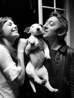 Jane Birkin & Serge Gainsbourg with pet puppy