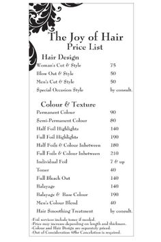 Price List The Joy Of Hair Hair Salon Decor Hair Salon Logos Salon Menu