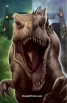 T-Rex/Indominus Rex Split (Jurassic Park, Jurassic World) x Museum Quality 100 lb. Gloss Art Print by Artist John Becaro. Blue Jurassic World, Jurassic World Dinosaurs, Jurassic World Fallen Kingdom, Michael Crichton, Science Fiction, Jurassic Park Poster, Jurassic Park T Rex, Fantasy Wesen, Jurassic World Indominus Rex