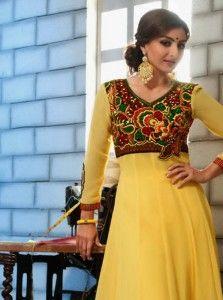 Soha Ali Khan Yellow Faux Georgette Anarkali Suit
