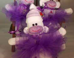 #SockMonkeyBallerina Handmade Sock Monkey, Ballerina Cupcake Mini Sock Monkey, Collectible, OOAK, Purple Monkey, Doll Toy Plush Stuffed Animal
