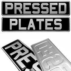 Oblong square Black and Silver Pressed Number Plates Car Metal Classic Aluminium