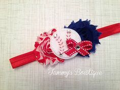 A personal favorite from my Etsy shop https://www.etsy.com/listing/178275035/baseball-headband-red-and-blue-headband