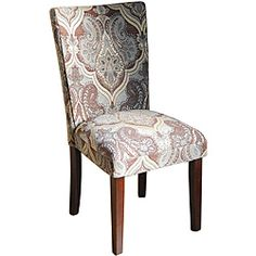 @Overstock - Add an elegant touch to any room with these decorative parson chairs. This set of two blue and brown paisley-patterned chairs are upholstered with gorgeous damask fabric and have sturdy solid wood legs that feature a dark mahogany finish.http://www.overstock.com/Home-Garden/Blue-and-Brown-Paisley-Parson-Chairs-Set-of-2/6541498/product.html?CID=214117 $147.99