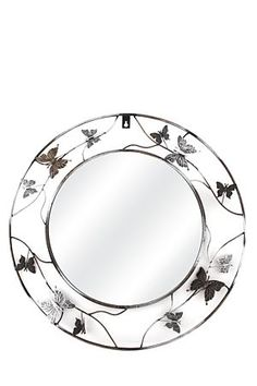 """This mirror has a feminine wrought iron frame with butterfly and floral detail. It is suitable for inside or on the veranda of your home. The diameter is class=""""descTitle"""">Dimensions:</b><BR>Dia Mirror Wall Art, Mirrors, Home Decor Online, Simple House, Wrought Iron, Home Furniture, Decorative Plates, Canvas Art, Butterfly"""