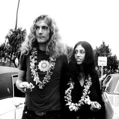 Robert Plant w/ his wife, the mother to 3 of his children.